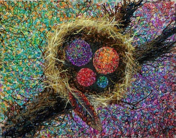 Abstract Bird Nest Colorful Painting Giclee Art Print