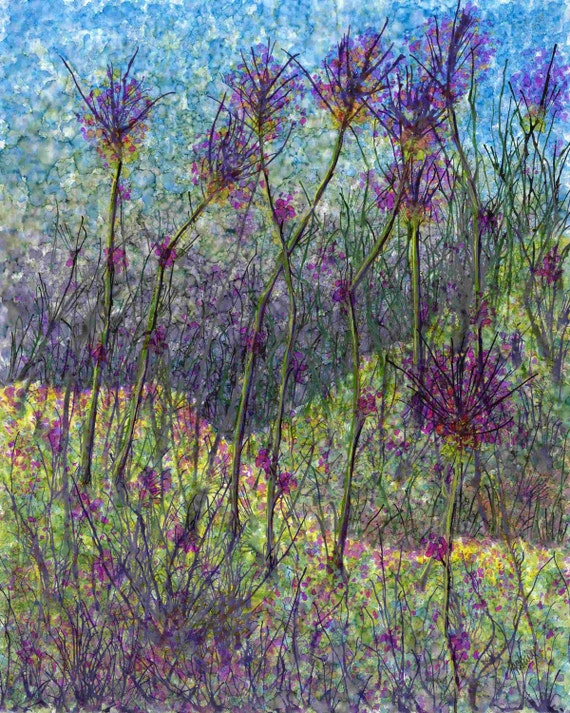 Violet Field Abstract Painting Giclee Art Print