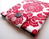 "iPad Case / Galaxy Tab 10.1/ eReader Cover / Xoom Cover / Tablet / Water Resistant Padded-""Red Damask"""