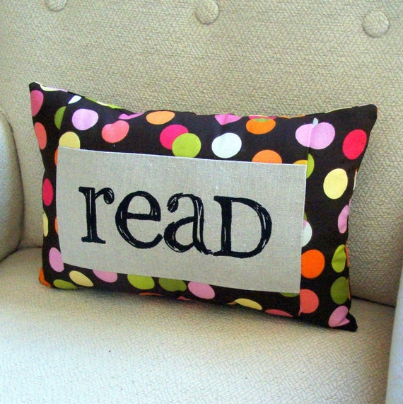 Read Pillow - Brown Polka Dot