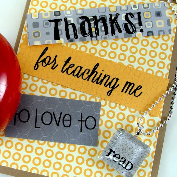 Teacher Read Card with Necklace - Yellow and Gray