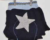 MEDIUM Upcycled wool diaper cover soaker with added layer of wool doubler in wet zone Blue star