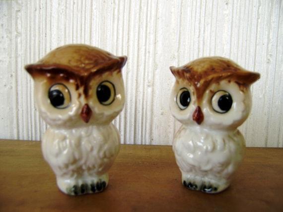 Reserved for Owlikki--Vintage owl Salt and Pepper Shakers