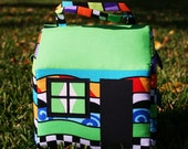 CLEARANCE   Fabric Doll House, Perfect for TRAVEL and small hands, Carried like a Purse