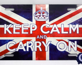 Keep Calm and Carry On - Union Jack British Poster License Plate