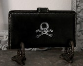 UPCYCLED Black WALLET with White Skull and Crossbones