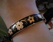 vintage damascene bracelet, birds and flowers