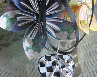 Checkered an OOAK guitar pick necklace