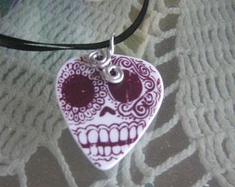 Sugar Skull an OOAK guitar pick necklace
