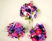 Silk wedding Bouquet Fuschia Purple bouquet