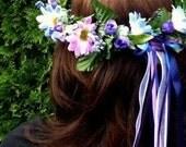 Blue Purple Flower crown Boho Bride halo Daisy Music Festival hair wreath silk floral headband Wedding accessories bridesmaids summer