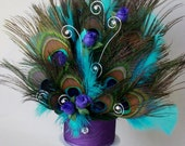 Peacock Over the Top Wedding Cake Topper -an AmoreBride Original- Turquoise feathers purple accents, rhinestone swirls reception accessories