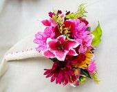 Weddings Bridal Accessories Bouquet Cruise Wedding Flowers Tropical Pinks Faux Flowers Fuschia Hot Pink green bokay