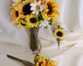 Bridal Bouquet Sunflower Wedding Flower Package 9 Pieces bridal party accessories, bouquets, boutonnieres, grooms flower