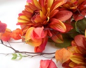 Autumn Bridal Bouquet Fall Wedding Flowers Presentation style Arm held Bokay Gorgeous Large silk Dahlias Rust Orange Dahlia accessories