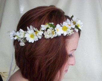 Bridal Floral Crown Daisy hair wreath-Stevie-Wedding Headwreath Bridal Head Piece silk flower crown EDC hair accessories, daisy chain ribbon