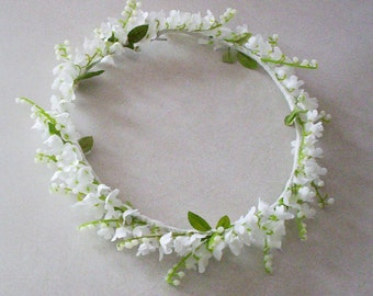 Wedding Flower Crown Lily of the Valley -Caroline- Flower girl Bridal accessories Halo headpiece silk flowers hair wreath Spring lilly