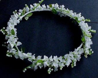 Wedding Flower Crown Lilly of the Valley Bridal Halo headpiece silk flowers hair wreath flower girl silk floral garland bridal accessories