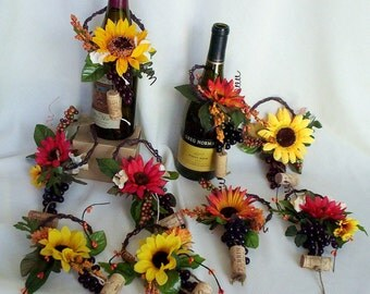Sunflower Bridal Centerpieces Wine toppers AmoreBride summer Vineyard wedding accessories fall reception decoration grapevine corks grapes