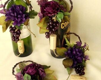 Wine Theme Wedding Centerpieces Wine Bottle Topper by AmoreBride purple table decor bridal shower favors accessories party event reception
