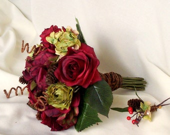 ON SALE Bridal Bouquet Rustic Chic Wedding Flowers ready ship bridesmaid Winter Woodland Rust Burgundy Pine cones greens autumn accessories