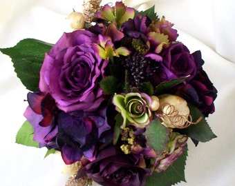 Plum Bridal bouquet Silk Wedding Flowers Radiant Orchid Purple bridal party accessories, vineyard weddings, bridesmaid bokay, autumn fall