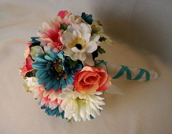 beach wedding flower package teal coral custom by amorebride. Black Bedroom Furniture Sets. Home Design Ideas