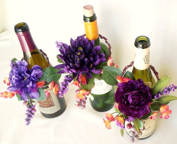 items similar to wedding decoration vineyard weddings centerpieces wine bottle toppers purple. Black Bedroom Furniture Sets. Home Design Ideas