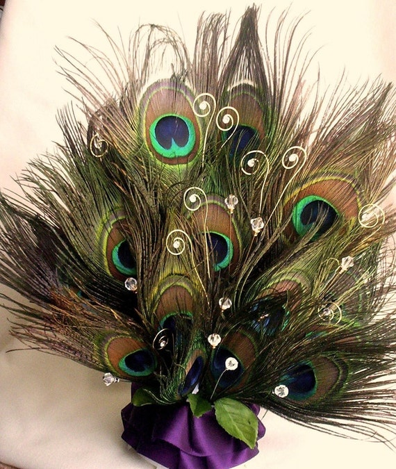 Peacock Feather Wedding Cake: Peacock Feathers Wedding Cake Top Crystals Rhinestones Bling