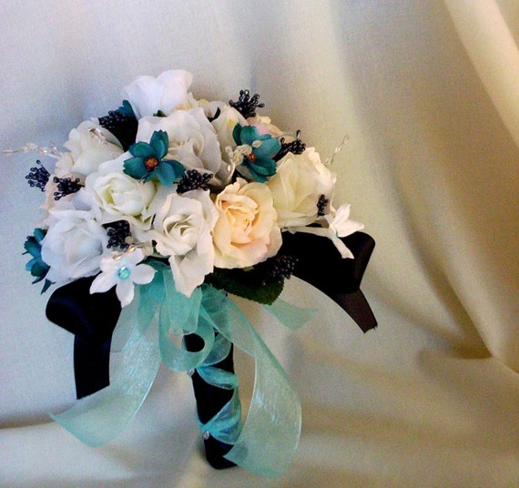 Turquoise Flowers For Wedding: Turquoise Bridal Bouquet Black Aqua Turquoise Wedding Flowers