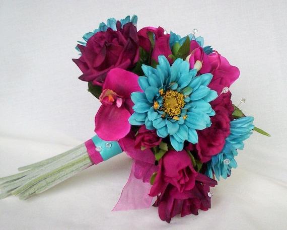 Turquoise Fuchsia Wedding: Turquoise Fuschia Wedding Flowers Custom Deposit For Julie