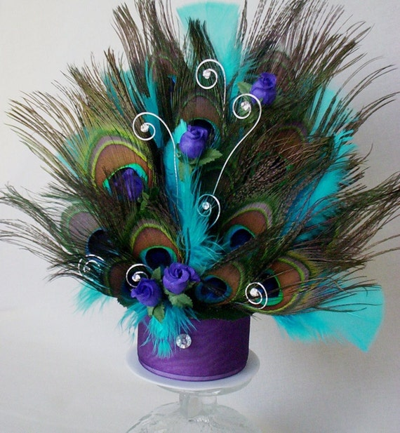 Peacock Feather Wedding Cake: Peacock Over The Top Wedding Cake Topper An By AmoreBride