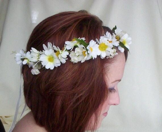 Bridal Floral Crown Daisy hair wreath-Stevie-Wedding Headwreath Bridal Head Piece silk flower crown EDC hair accessories, daisy chain ribbon