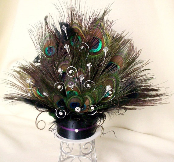Peacock Feather Wedding Cake: Items Similar To Peacock Wedding Cake Topper Crystals