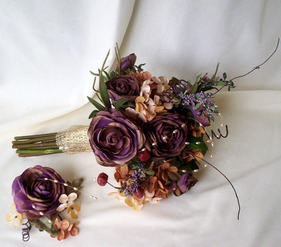 Rustic Wedding Bouquet Hair Comb set  Reserved for cucutrasdesigns Part I
