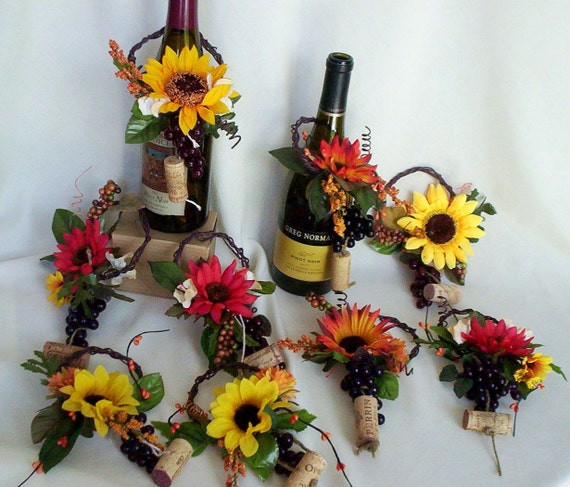Sunflower Bridal Centerpieces Wine toppers AmoreBride Vineyard wedding accessories reception decoration with grapevine, corks, grapes
