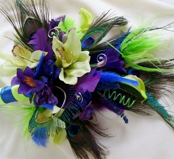 Peacock Bridal Bouquet Wedding flower Package Royal blue green purple AmoreBride Peacock feather theme Accessories custom for Jessica