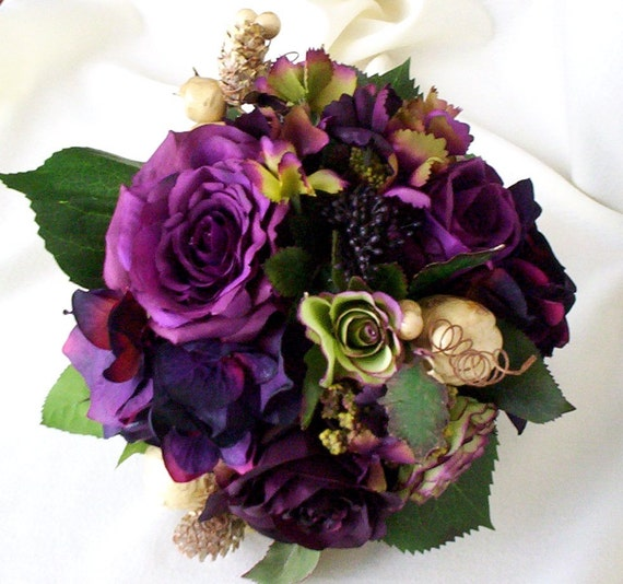 Wedding Purple Flowers: Plum Bridal Bouquet Silk Wedding Flowers Radiant By AmoreBride