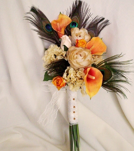 Destination Wedding flowers Orange peacock Bridal Bouquet Ready to Ship peacock feather Wedding accessories cruise weddings faux bokay fall