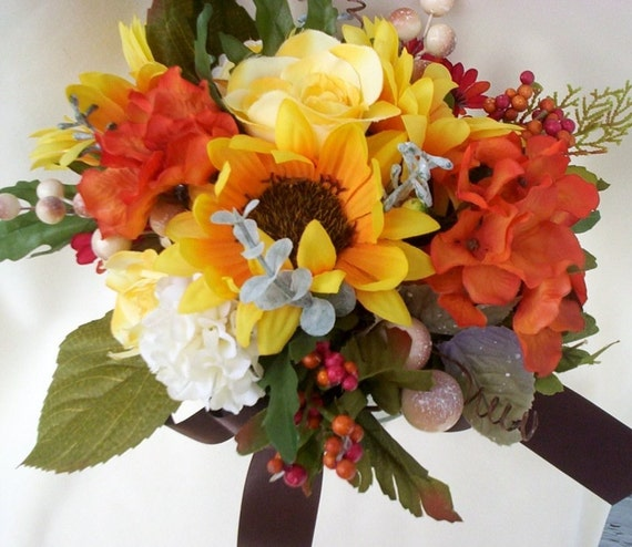 Bridal Bouquet Sunflowers Boutonnierre Summer Weddings