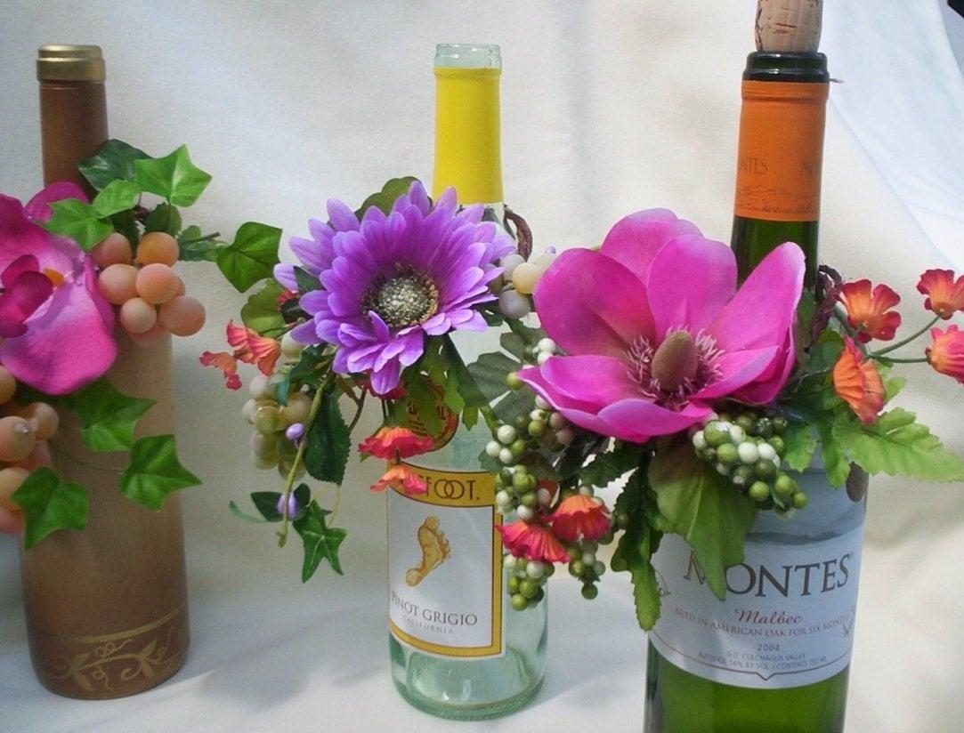 wedding flowers reception centerpieces wine bottle toppers. Black Bedroom Furniture Sets. Home Design Ideas