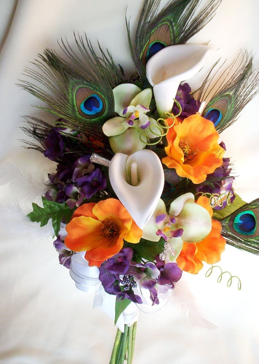 White Wedding Bouquets With Peacock Feathers : Peacock feather bridal bouquet orchids callas by amorebride