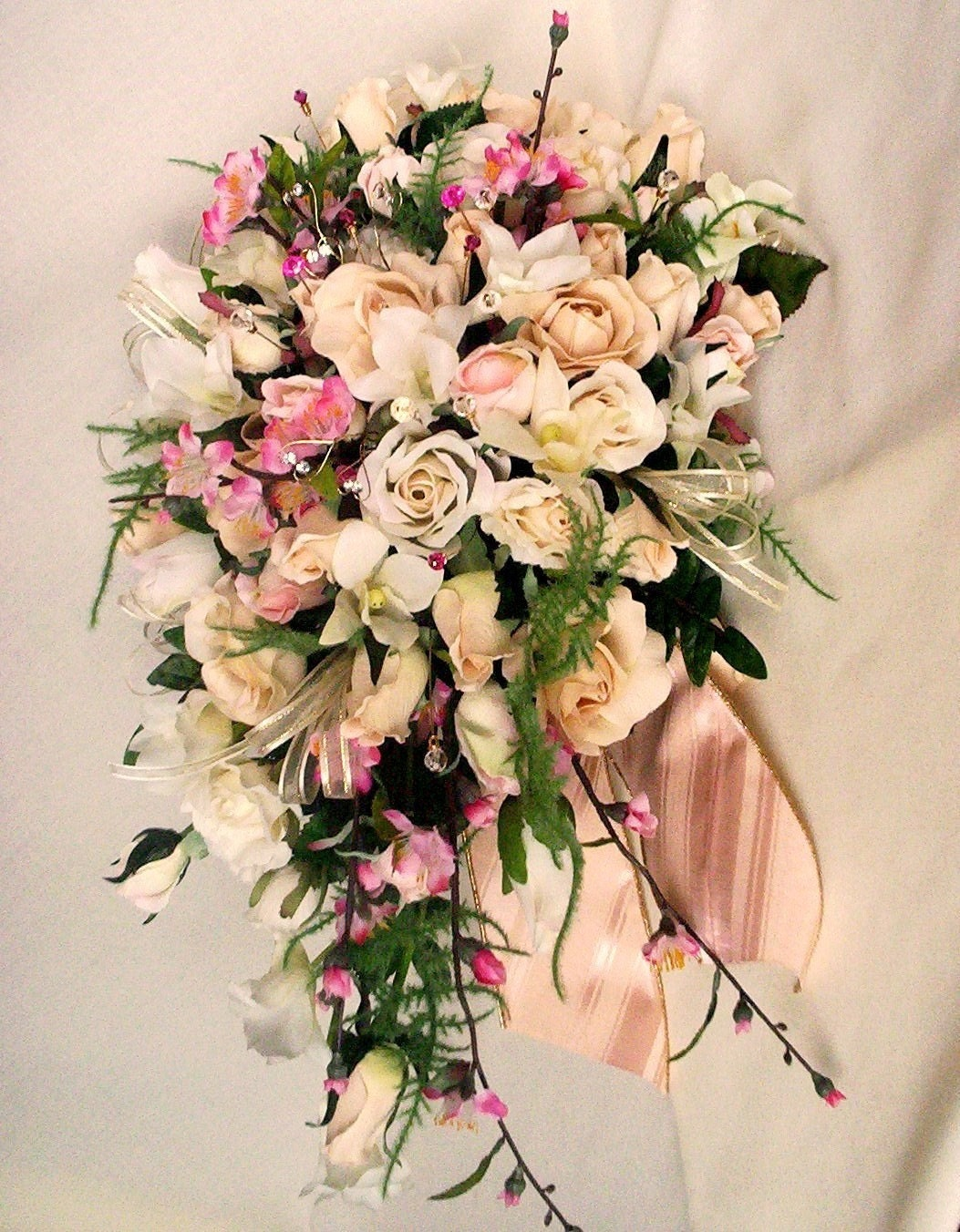 wedding bouquet ivory pink cherry blossoms custom for kim p