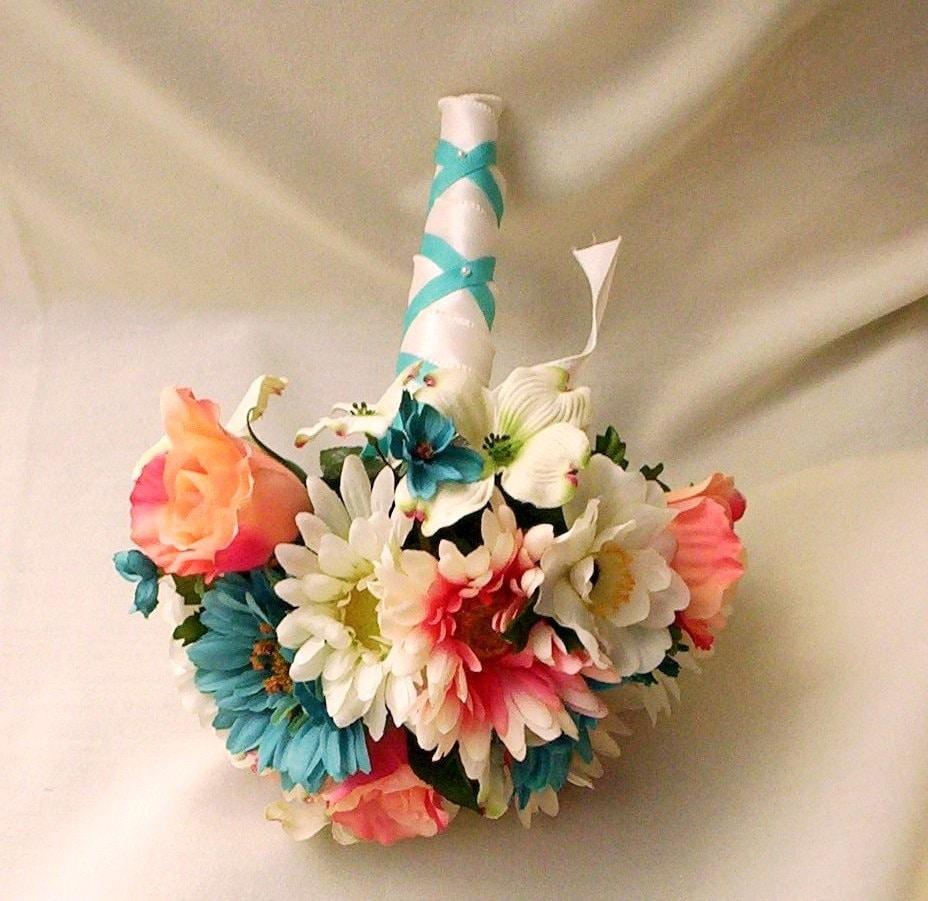 Beach Wedding Flowers: Beach Wedding Flower Package Teal Coral Custom By AmoreBride