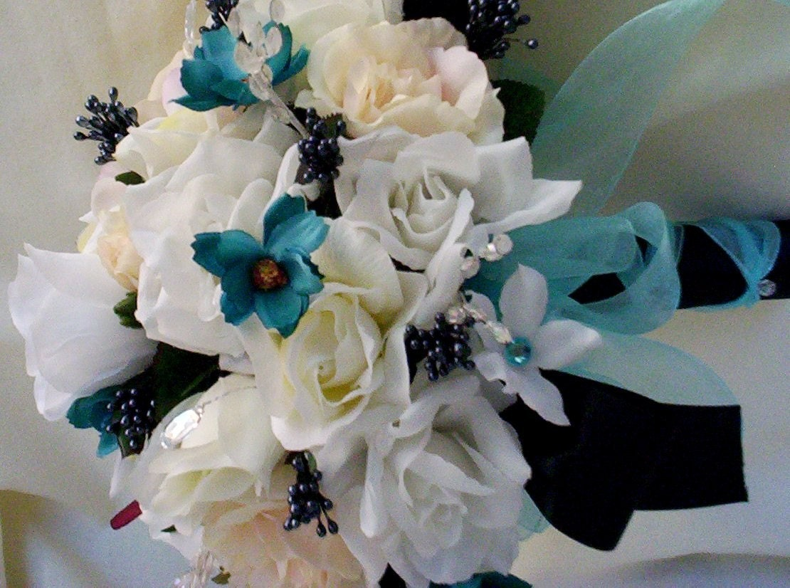 Turquoise Wedding Flowers Silk Bridal Bouquet Black Aqua