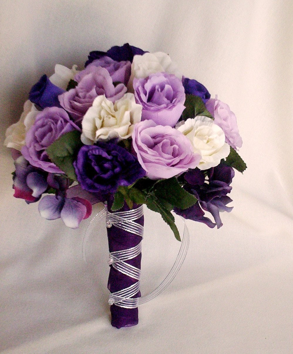 Wedding Bridal Flowers: Silk Purple Rose Bridal Bouquets Package Custom For Helen