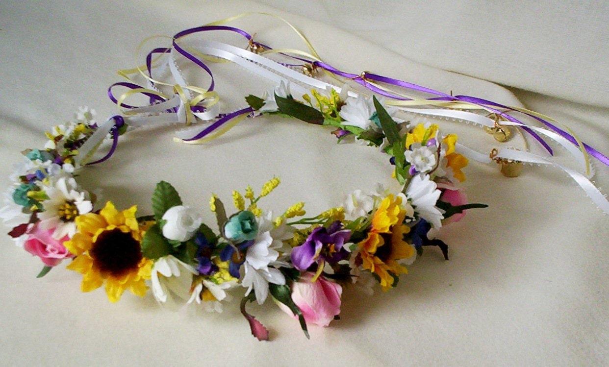 Spring Hair Crown Hippie Flower Halo Sunflower