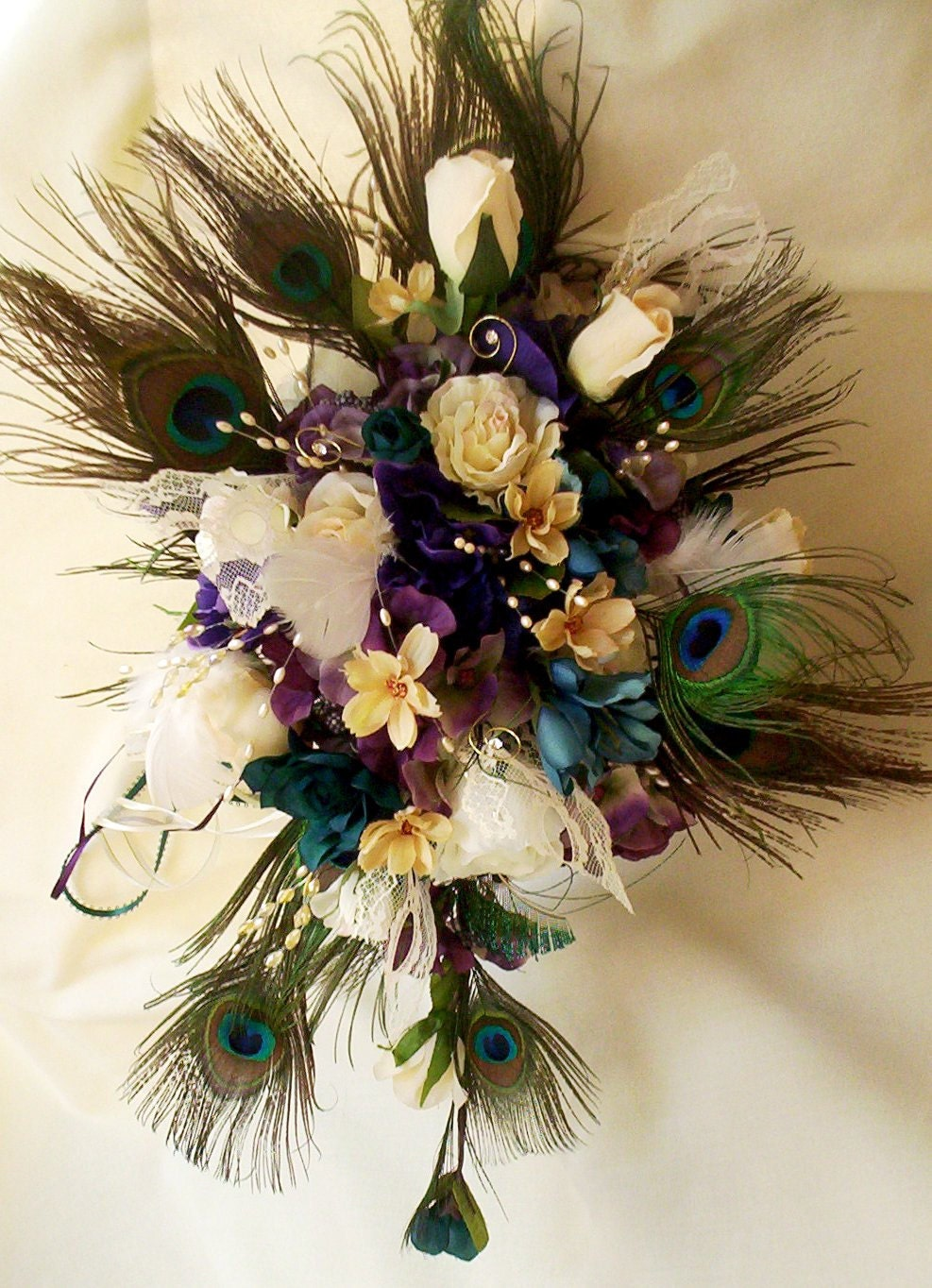 Peacock Feather Wedding Bouquet Package Bridal Party By