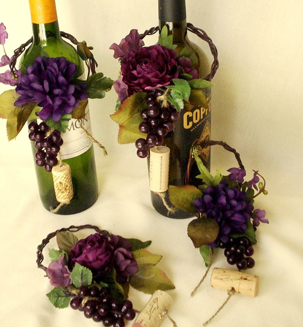 Wine theme wedding centerpieces wine bottle topper by for Wine themed centerpieces