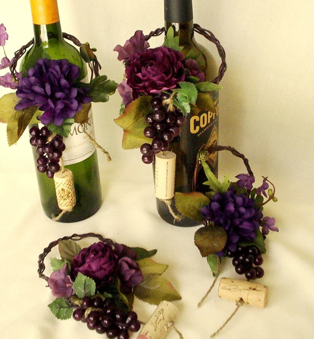 Wine theme wedding centerpieces wine bottle topper by for Wedding table decorations with wine bottles